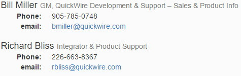 QuickWire Labs Contact Information